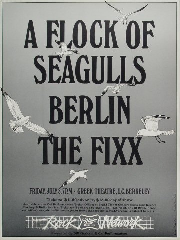 "A Flock of Seagulls Poster from Greek Theatre on 08 Jul 83: 15"" x 20"""