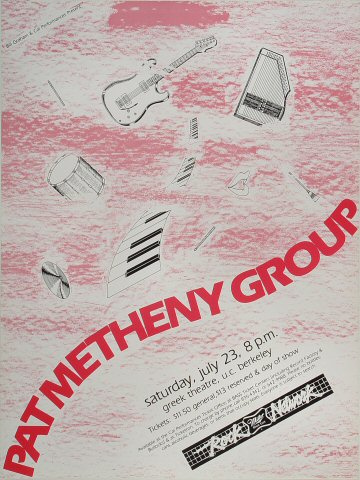 """Pat Metheny Group Poster from Greek Theatre on 23 Jul 83: 15"""" x 20"""""""