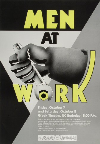 "Men at Work Poster from Greek Theatre on 07 Oct 83: 14 1/4"" x 20 1/4"""