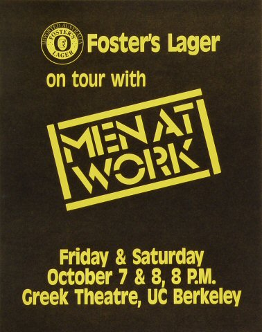 "Men at Work Poster from Greek Theatre on 07 Oct 83: 11"" x 14"""
