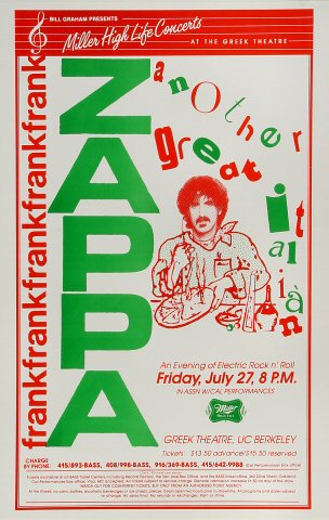"Frank Zappa Poster from Greek Theatre on 27 Jul 84: 11"" x 17"""