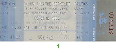 Depeche Mode 1980s Ticket from Greek Theatre on 05 Jul 86: Ticket One