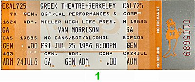 Van Morrison 1980s Ticket from Greek Theatre on 25 Jul 86: Ticket One