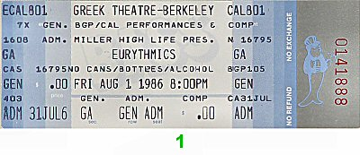 Eurythmics 1980s Ticket from Greek Theatre on 01 Aug 86: Ticket One