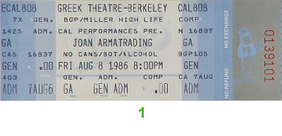 Joan Armatrading 1980s Ticket from Greek Theatre on 08 Aug 86: Ticket One