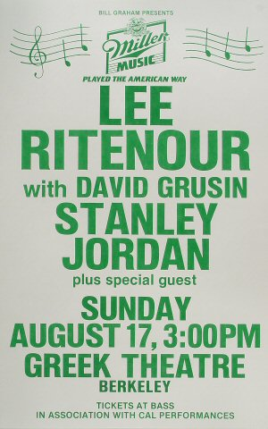 "Lee Ritenour Poster from Greek Theatre on 17 Aug 86: 14"" x 22"""