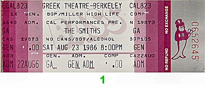 The Smiths 1980s Ticket from Greek Theatre on 23 Aug 86: Ticket One
