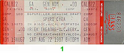 Spyro Gyra 1980s Ticket from Greek Theatre on 22 Aug 87: Ticket One