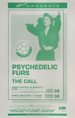 "The Psychedelic Furs Poster from Greek Theatre on 28 Aug 87: 11"" x 17"""