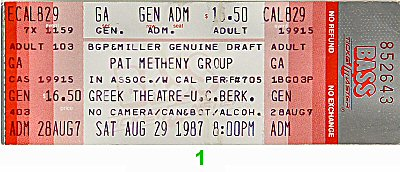 Pat Metheny Group 1980s Ticket from Greek Theatre on 29 Aug 87: Ticket One