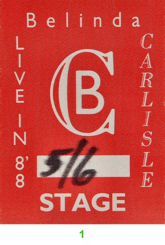Belinda Carlisle Backstage Pass from Greek Theatre on 06 May 88: Pass 1