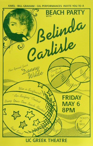 "Belinda Carlisle Poster from Greek Theatre on 06 May 88: 11"" x 17"""