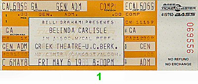 Belinda Carlisle 1980s Ticket from Greek Theatre on 06 May 88: Ticket One