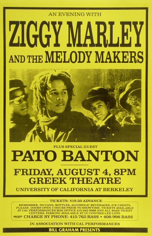 "Ziggy Marley & the Melody Makers Poster from Greek Theatre on 04 Aug 89: 11"" x 17"""