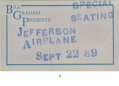 Jefferson Airplane Backstage Pass from Greek Theatre on 22 Sep 89: Pass 1