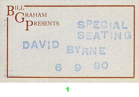 David Byrne Backstage Pass from Greek Theatre on 09 Jun 90: Pass 1