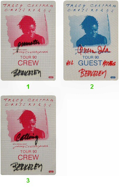 Tracy Chapman Backstage Pass from Greek Theatre on 07 Jul 90: Pass 2
