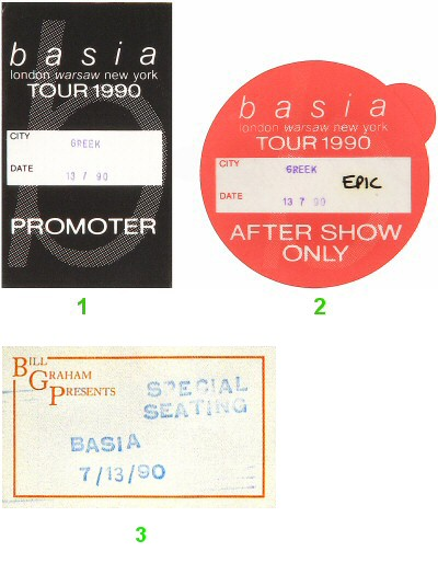 Basia Backstage Pass from Greek Theatre on 13 Jul 90: Pass 1