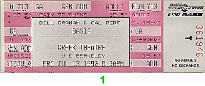 Basia 1990s Ticket from Greek Theatre on 13 Jul 90: Ticket One
