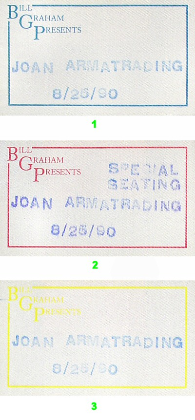 Joan Armatrading Backstage Pass from Greek Theatre on 25 Aug 90: Pass 3