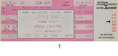 Little Feat 1990s Ticket from Greek Theatre on 14 Sep 90: Ticket One