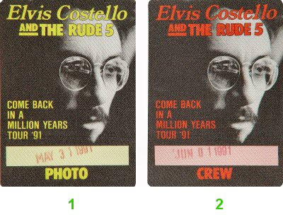 Elvis Costello Backstage Pass from Greek Theatre on 31 May 91: Pass 2