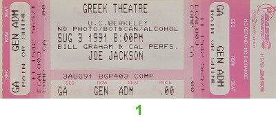 Joe Jackson 1990s Ticket from Greek Theatre on 03 Aug 91: Ticket One