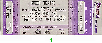 Jimmy Cliff 1990s Ticket from Greek Theatre on 31 Aug 91: Ticket One