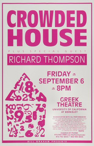 "Crowded House Poster from Greek Theatre on 06 Sep 91: 11"" x 17"""