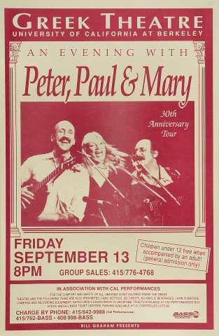 "Peter, Paul & Mary Poster from Greek Theatre on 13 Sep 91: 11"" x 17"""