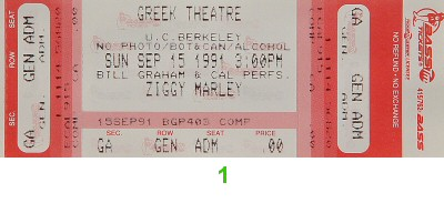 Ziggy Marley 1990s Ticket from Greek Theatre on 15 Sep 91: Ticket One