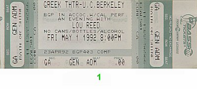 Lou Reed 1990s Ticket from Greek Theatre on 01 May 92: Ticket One