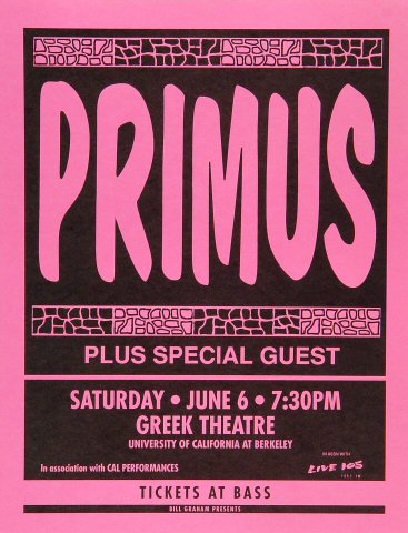 Primus Handbill from Greek Theatre on 06 Jun 92: 8 1/2&quot; x 11&quot;
