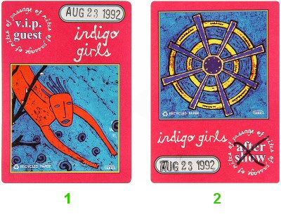 Indigo Girls Backstage Pass from Greek Theatre on 23 Aug 92: Pass 1