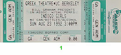 Indigo Girls 1990s Ticket from Greek Theatre on 23 Aug 92: Ticket One