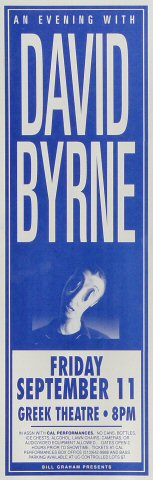 David Byrne Poster from Greek Theatre on 11 Sep 92: 5 1/2&quot; x 17&quot;