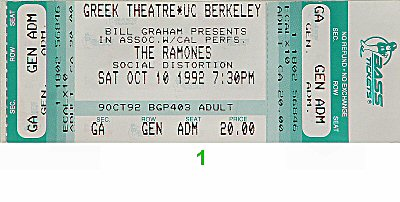 The Ramones 1990s Ticket from Greek Theatre on 10 Oct 92: Ticket One