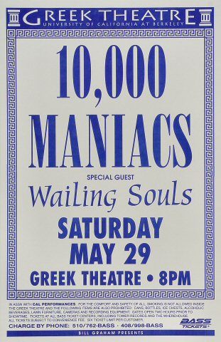 10,000 Maniacs Poster from Greek Theatre on 29 May 93: 11&quot; x 17&quot;