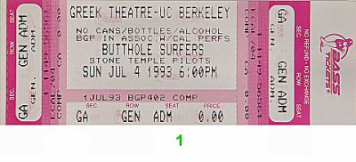 Butthole Surfers 1990s Ticket from Greek Theatre on 04 Jul 93: Ticket One