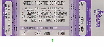 Al Jarreau 1990s Ticket from Greek Theatre on 20 Aug 93: Ticket One