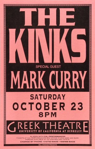 """The Kinks Poster from Greek Theatre on 23 Oct 93: 11"""" x 17"""""""