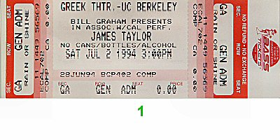 James Taylor 1990s Ticket from Greek Theatre on 02 Jul 94: Ticket One