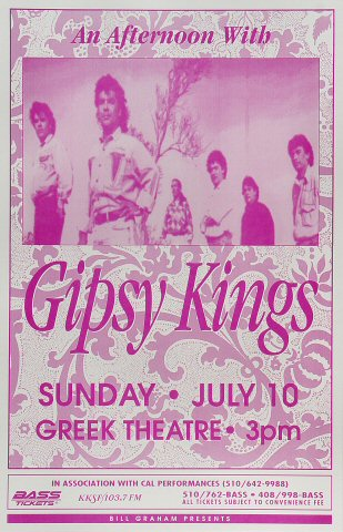"Gipsy Kings Poster from Greek Theatre on 10 Jul 94: 11"" x 17"""