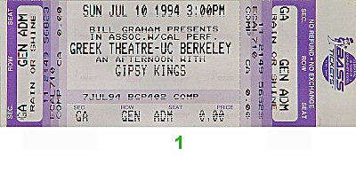 Gipsy Kings 1990s Ticket from Greek Theatre on 10 Jul 94: Ticket One