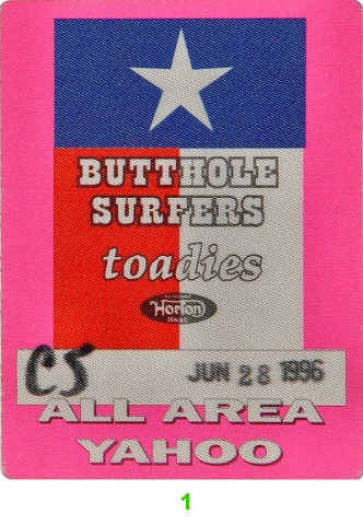 Butthole Surfers Backstage Pass from Greek Theatre on 28 Jun 96: Pass 1
