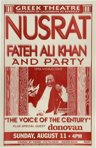"Nusrat Fateh Ali Khan Poster from Greek Theatre on 11 Aug 96: 11"" x 17"""