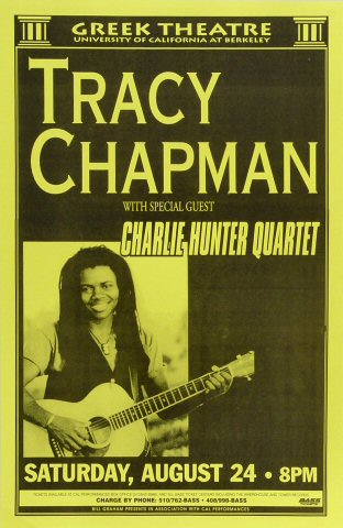 "Tracy Chapman Poster from Greek Theatre on 24 Aug 96: 11"" x 17"""