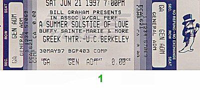 Buffy Sainte-Marie 1990s Ticket from Greek Theatre on 21 Jun 97: Ticket One