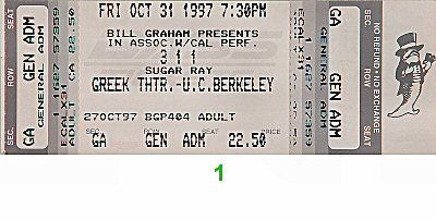 311 1990s Ticket from Greek Theatre on 31 Oct 97: Ticket One