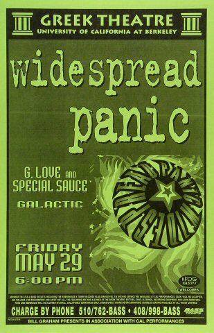 "Widespread Panic Poster from Greek Theatre on 29 May 98: 11"" x 17"""